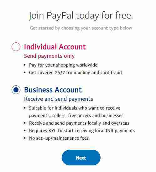Choose Business account on paypal