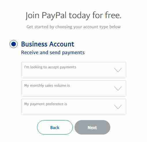 Choose why you need paypal business account