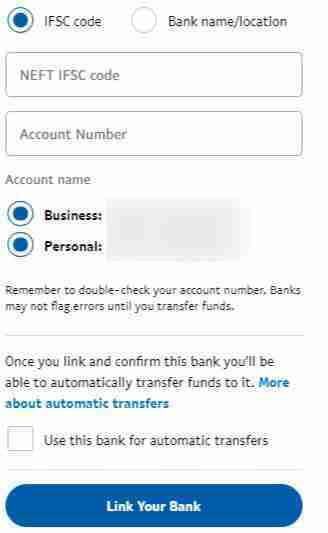 Enter your Bank information on Paypal