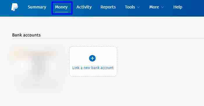 Tap on Money Tab and click on link a new bank account