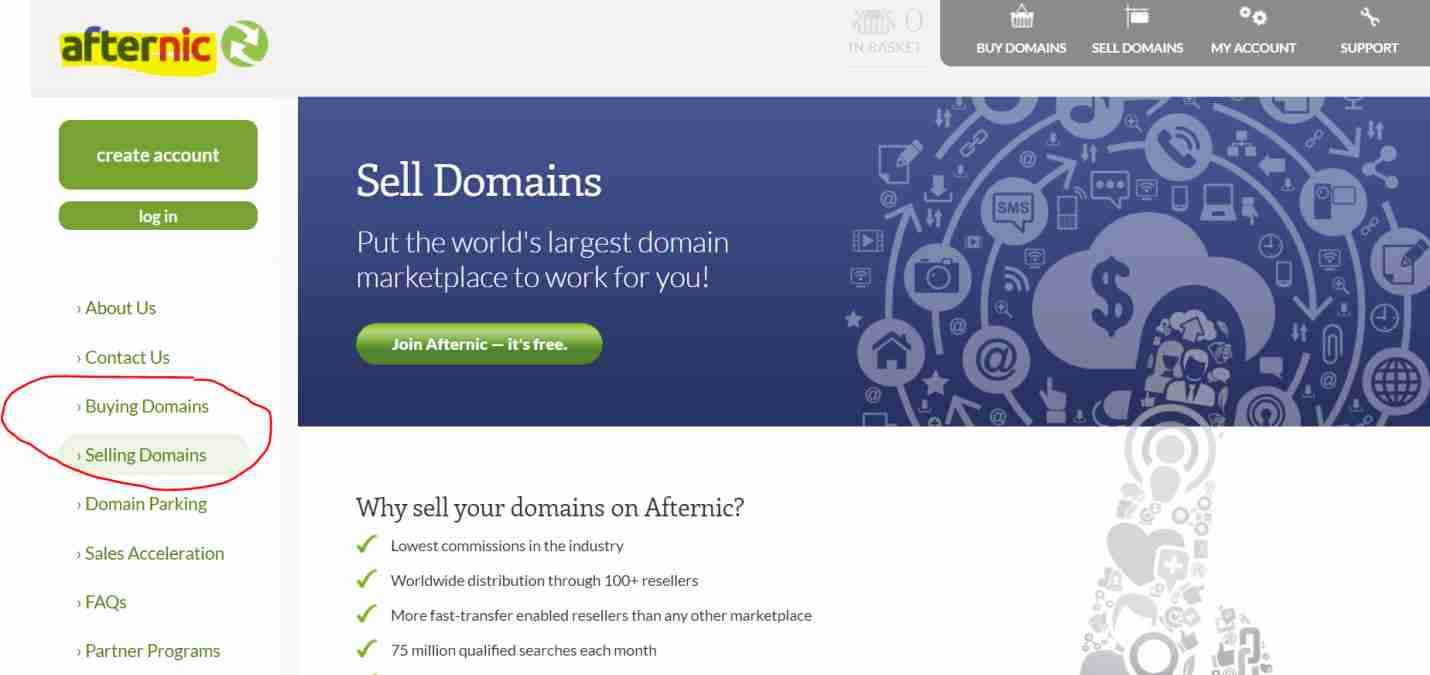 sell domain on Afternic