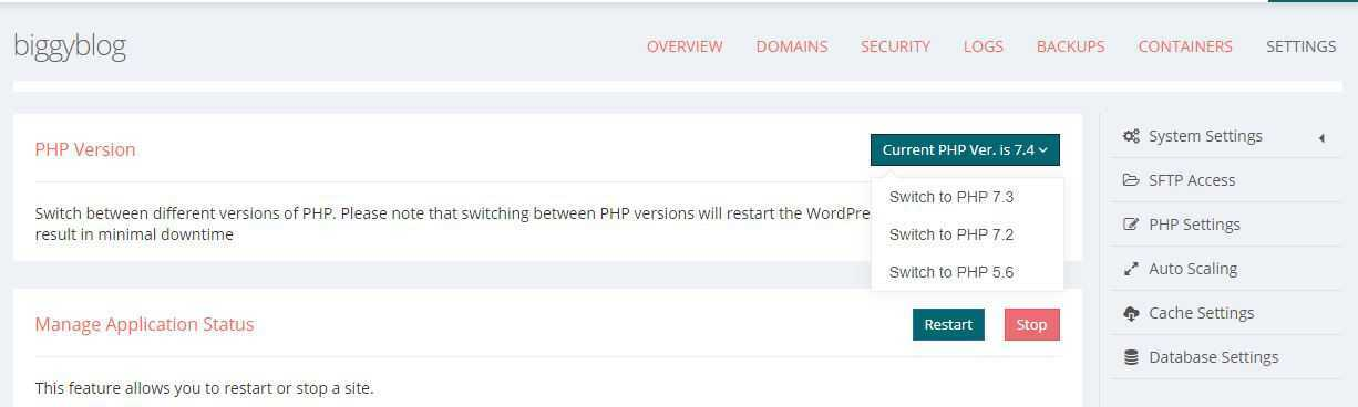 php version set on convesio