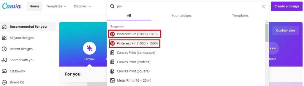 Select your desired image size on canva